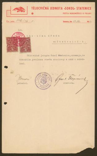 Sokolovna ve Statenicích r1936 žádost o kolaudaci