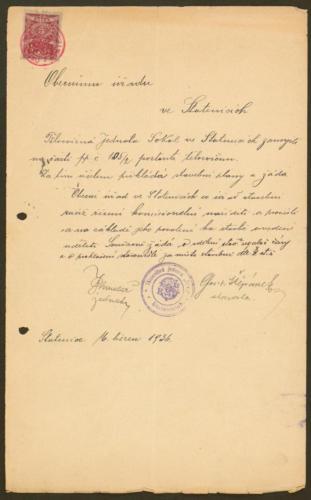 Sokolovna ve Statenicích r1936 žádost o stavební povolení