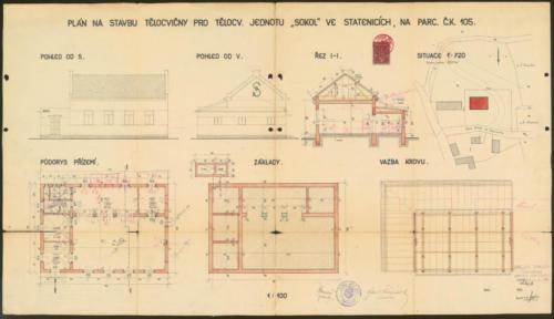 Sokolovna ve Statenicích r1936 stavební plány